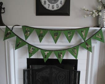 Boys CAMOUFLAGE Happy Birthday Double Sided FABRIC Banner Garland PARTY Banner