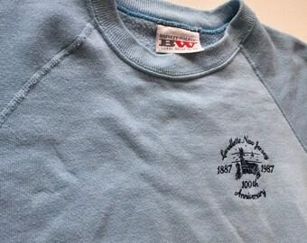 Vintage Thin Sweatshirt 80's baby blue sweatshirt small