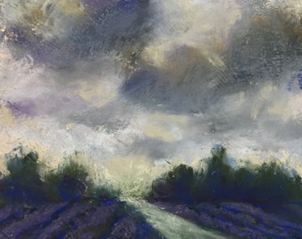 Original Impressionist Pastel Painting of a Storm over Fields of Lavender