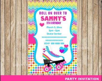 Roller Skate invitation; Roller Skating Birthday invitation, Roller Skate party Invitation Digital File