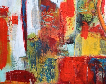 """Abstract acrylic painting, canvas, 40 x 50 cm, title: """"color Garden"""""""