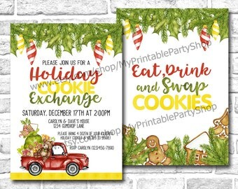 """Holiday Cookie Exchange Party Invitation, PRINTABLE 5"""" x 7"""" Watercolor Holiday Cookie Swap Christmas Party Invite, Eat Drink Swap Cookies"""