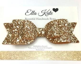 Gold hair bow, oversized bow, glitter hair bow, hair clip, gold hair accessory, big bows, gold glitter bow, glitter fabric, bow headbands