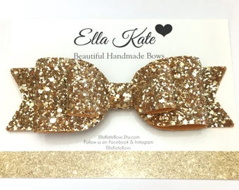 Glitter hair bow, oversized bow, gold hair bow, hair clip, gold hair accessories