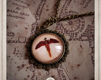 Phoenix glass 20mm Harry Potter Dumbledore COC035 Fawkes Fawkes and phoenix cabochon bronze medallion necklace