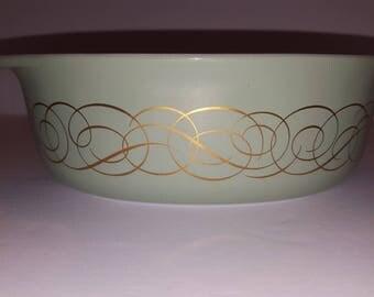 Vintage Pyrex # 043 Sage Green with golden Scroll/ Swirls 1.5 Qt. Casserole Dish