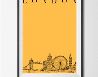Hand Drawn LONDON print
