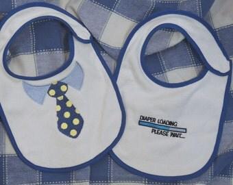 Personalized Baby bib for boy, custom baby bib with tie, custom diaper downloading bib, 2 boy baby bibs, pick any saying