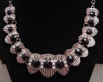 Deco Revival Goldtone and Rhinestone Statement Necklace, 1970's