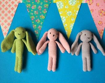 Bunny crochet, bunny toy for babies, stuffed bunny, plushies, birth gift, gift for baby, crochet toy, Hare crochet plush