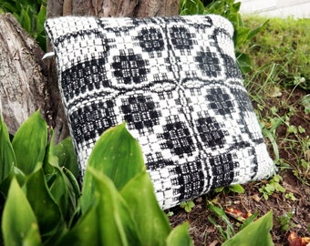 traditional patterned sofa cushion in black and white, pure wool, 50 x 50 cm