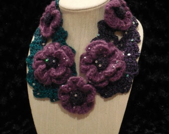 Purple and Teal Flower Necklet