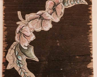 Flower Drawing on Wood: Wall Piece