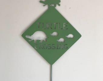 Turtle Crossing Metal Garden Art Sign