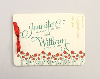 Emerald and Gold California Poppies Wedding Invitation 4pg Booklet Livret with tear off RSVP Postcard - TE1
