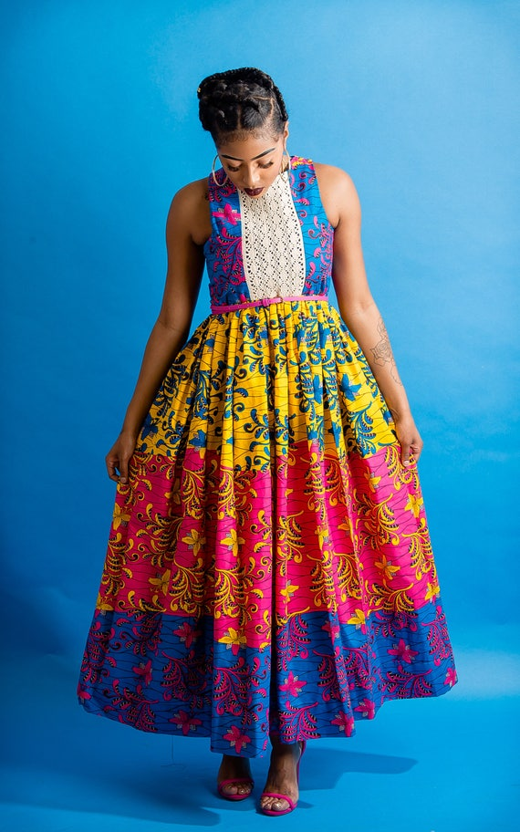 Long Ankara Dress by Maggiegold56