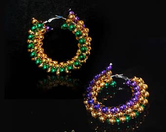 Twisted Mardi Gras Bead Hoop Earrings