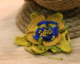 Freeform Crochet Flower Brooch