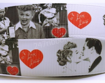 """I love Lucy Retro Tv Show Inspired Printed Grosgrain Ribbon 7/8"""" Wide"""