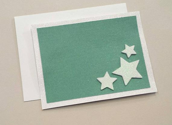 Turquoise Star Card / Note Card / White Glitter  / Unique / Star Card / Star Birthday Card / Congratulations Card / Handmade / Blank Card