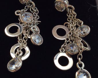 Beautiful Hallmarked 925 Silver and Crystal Drop Earrings.