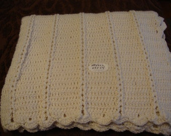 Cream colored Ladder Afghan
