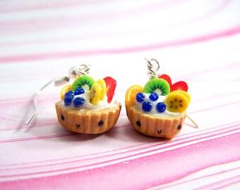 Polymer Clay Fruit Tart Earrings. Miniature Food. Food Jewelry. Miniature Food Jewelry. Fruit Tart Earrings Polymer Clay