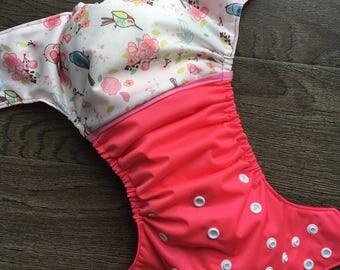 Cloth diaper - cloth diaper pink bird turcoise bird