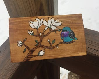 Hand painted bird and tree wooden box