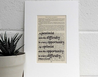 Winston Churchill Vintage Book Page Quote, Positive Thinking Gift, Literary Decor, Man Cave Decor, Book Lover Gift, History Buff Gift