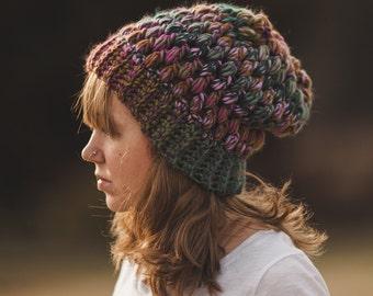 Puff stitch beanie--adult--multicolor
