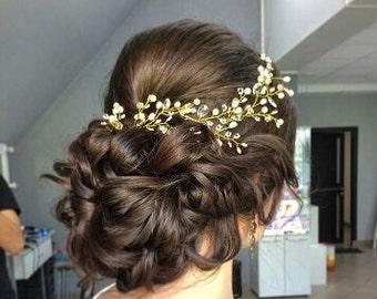 GILLIAN -  GOLD Crystal & Pearl Hair Vine