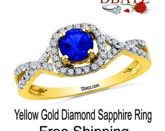 Sapphire Diamond Ring Yellow Gold Free Shipping By Dbayzcom