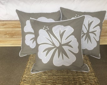 Tropical Hibiscus Embroidered Cushion Covers - Set of 3