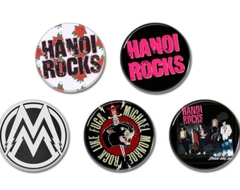 Hanoi Rocks & Michael Monroe buttons set of 5! (badges,pins,glam,25mm)