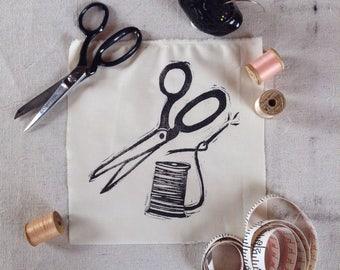 Scissor and Thread Handprinted Linocut Patch