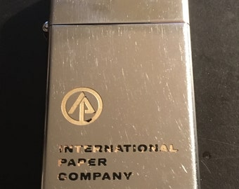 International Paper Company Slim Zippo Advertising Lighter - Used 1967