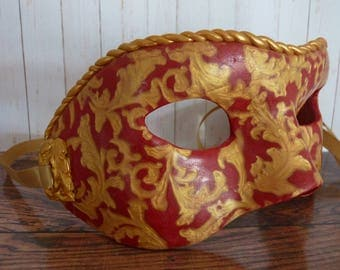 Handmade red and gold polymer clay full size masquerade mask
