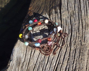 Bohemian Bracelet/  leather wrap bracelet/  Multi-color Wrap Bracelet/gypsy style bracelet/ Free Shipping