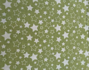 Riley Blake Green Stars Fabric, Quilt Fabric, Cotton Fabric, Novelty Fabric by the Yard, Pieces of Hope, C3065