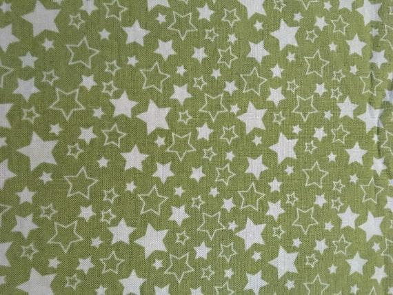 Green star fabric by the yard nursery fabric celestial for Celestial fabric by the yard