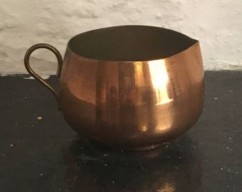 Small Vintage Copper Plate Jug with Brass Handle