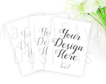 5x7 Wedding Mockups, 3 Card Invitations Mockup, Styled Stock Photography, Wedding Invitation, Stock image, Stock Photo, 512