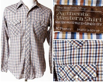 Vintage Men's Western Shirt Gingham JC Penney - Retro 80s 16 Large L Country