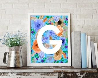 Letter G Monogram Art  / Letter G Art, Letter Wall Decor, Flower letter art, Digital letter download, Digital Monogram