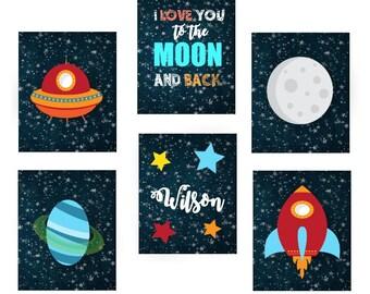 Love you to the moon and Back - Moon nursery art, Space nursery decor, Space art, Kids space art, Space art decor, digital download, pdf