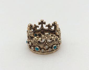 Vintage 10K yellow Gold Princess Ring with Crosses, Fleur-de-lis, Turquoises and Pearls