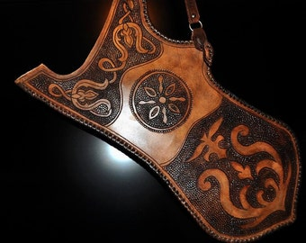 Quiver Nomad simpla 1.  Real leather, 100% hand work individual motifs LARP, Arch, Knight, medieval, fantasy