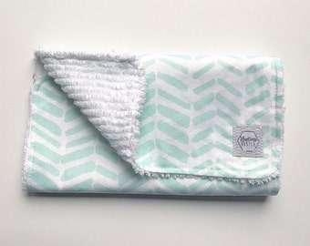 Mix & Match baby burp cloths- Teal Herringbone- Burp Rag - gender neutral baby gift - aqua baby - baby gift - aqua nursery