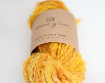 Hand spun yarn, hand spun alpaca, hand dyed yarn, art yarn,